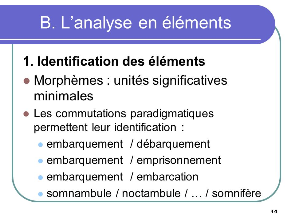 B. L'analyse en éléments