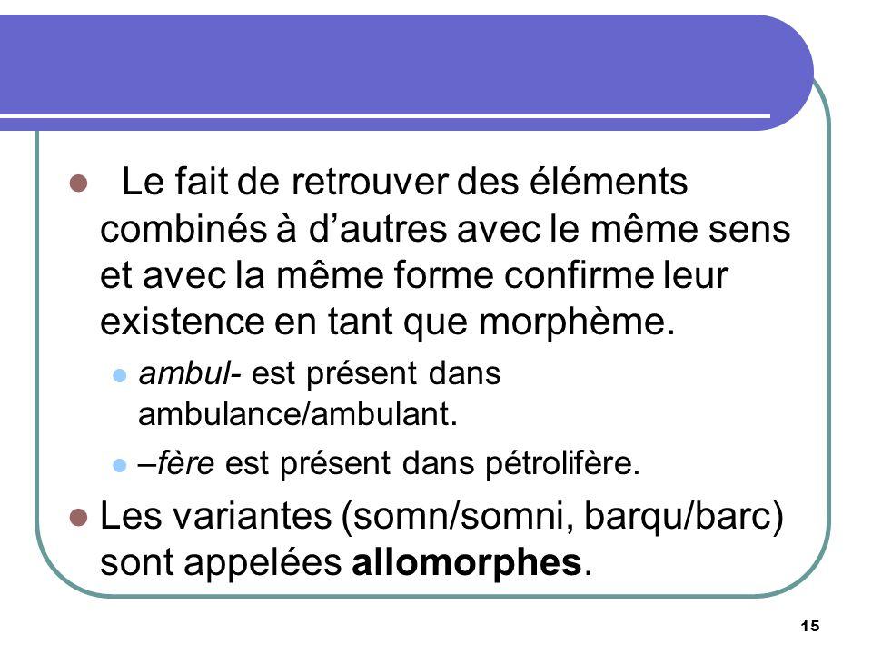 Les variantes (somn/somni, barqu/barc) sont appelées allomorphes.