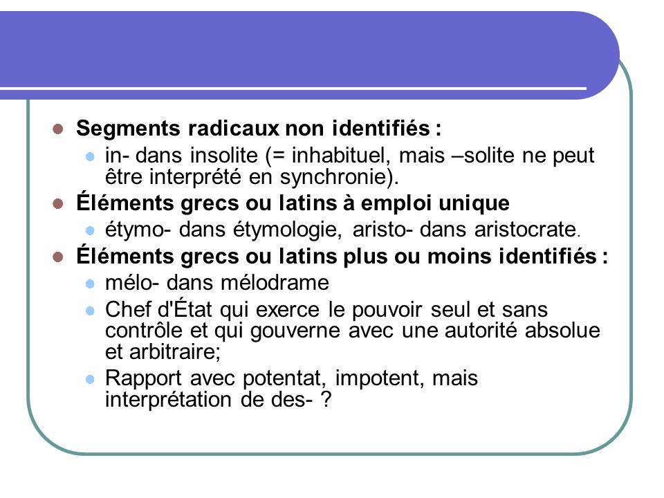 Segments radicaux non identifiés :