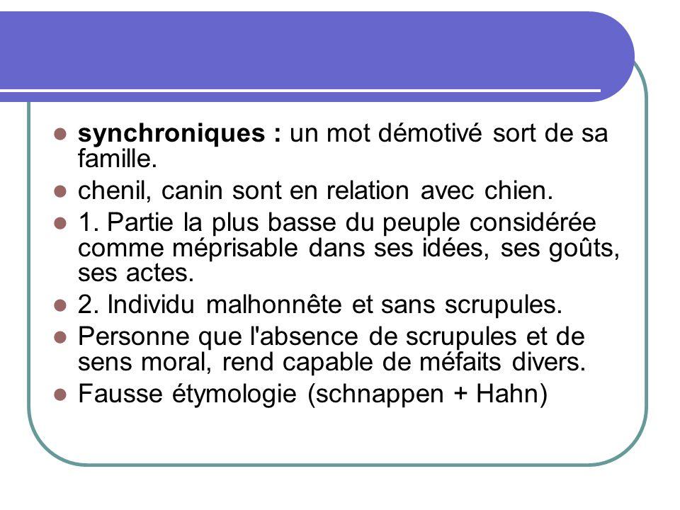 synchroniques : un mot démotivé sort de sa famille.