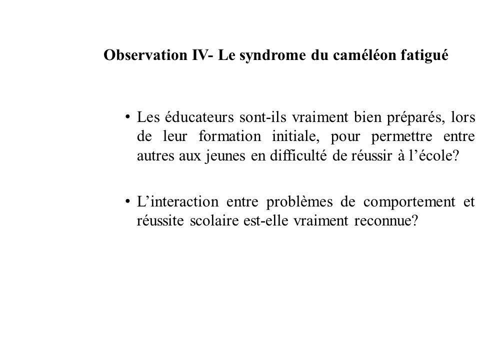 Observation IV- Le syndrome du caméléon fatigué