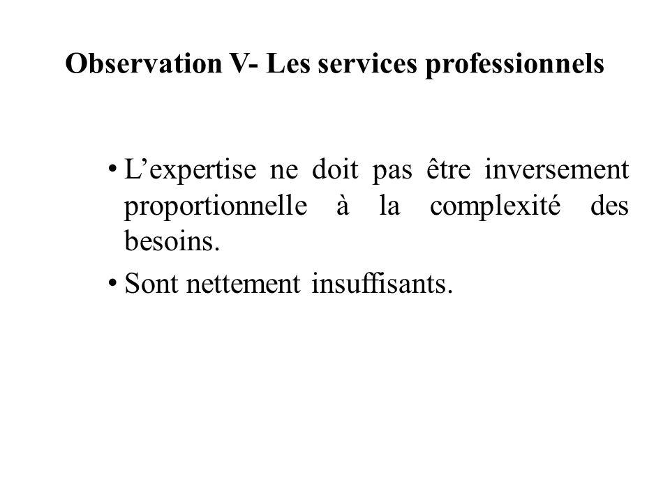 Observation V- Les services professionnels