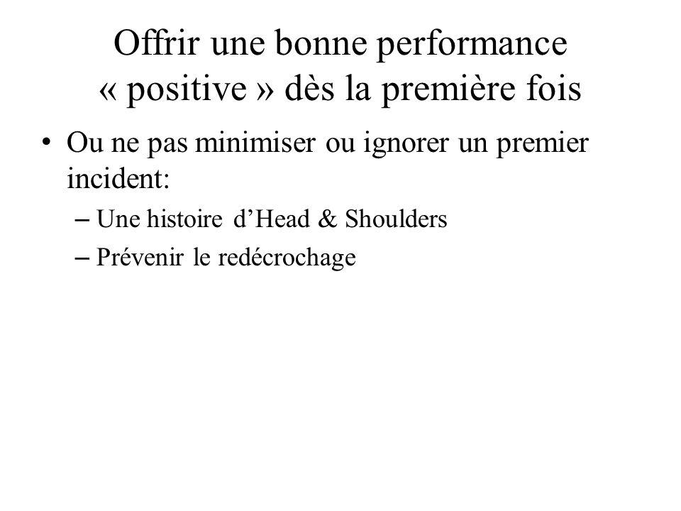 Offrir une bonne performance « positive » dès la première fois