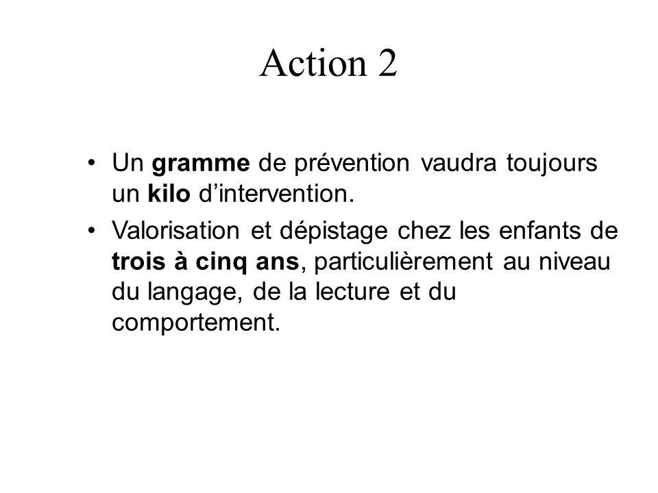 Action 2 Un gramme de prévention vaudra toujours un kilo d'intervention.