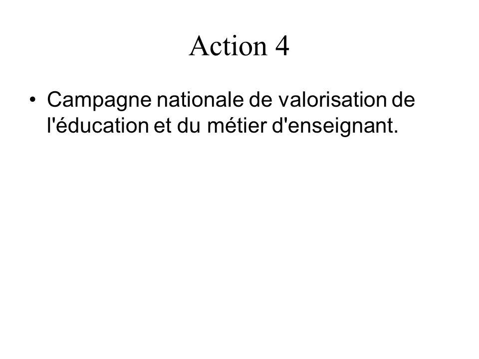 Action 4 Campagne nationale de valorisation de l éducation et du métier d enseignant.