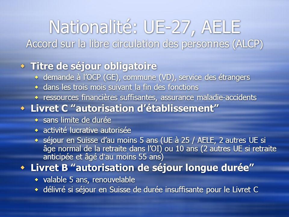 Nationalité: UE-27, AELE Accord sur la libre circulation des personnes (ALCP)