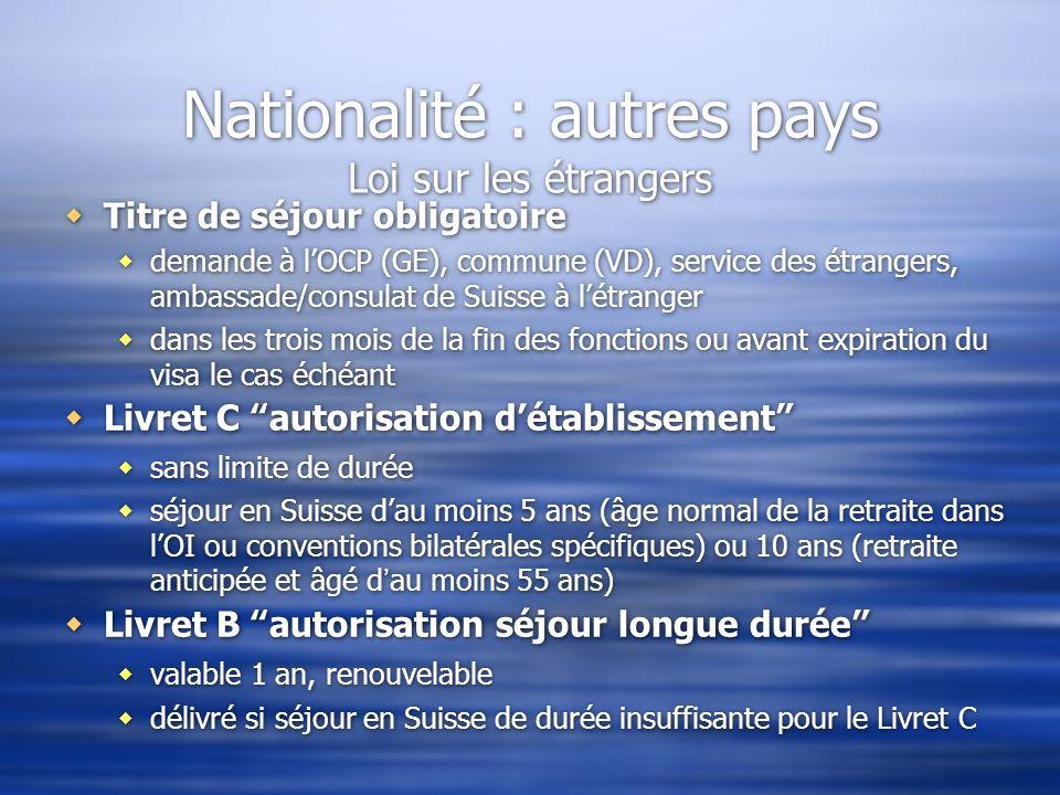 Nationalité : autres pays Loi sur les étrangers