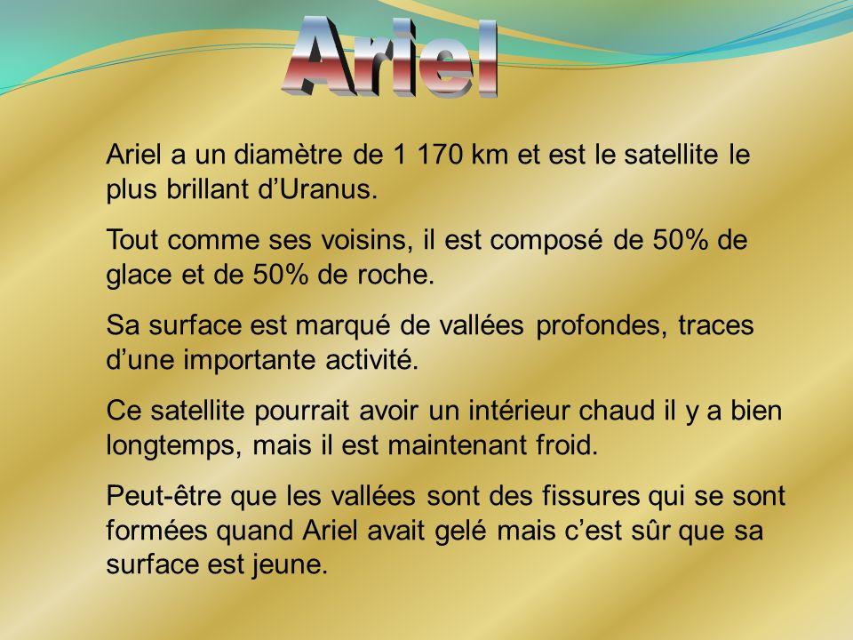 Ariel Ariel a un diamètre de 1 170 km et est le satellite le plus brillant d'Uranus.