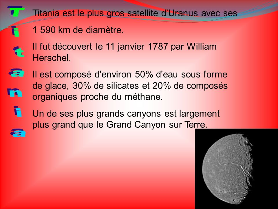 Titania Titania est le plus gros satellite d'Uranus avec ses