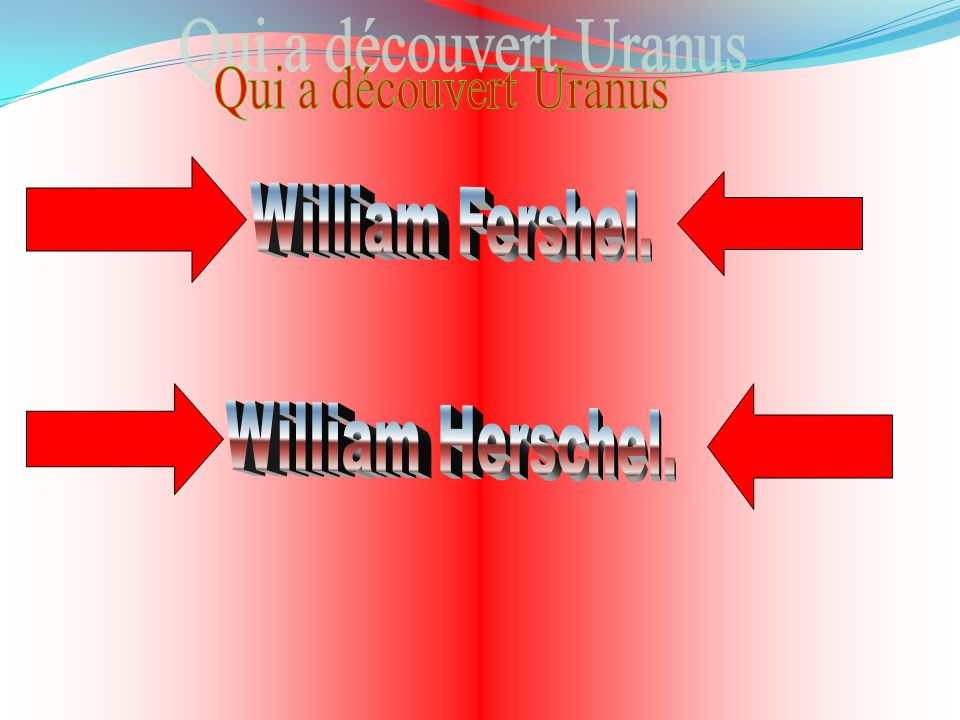 Qui a découvert Uranus William Fershel. William Herschel.
