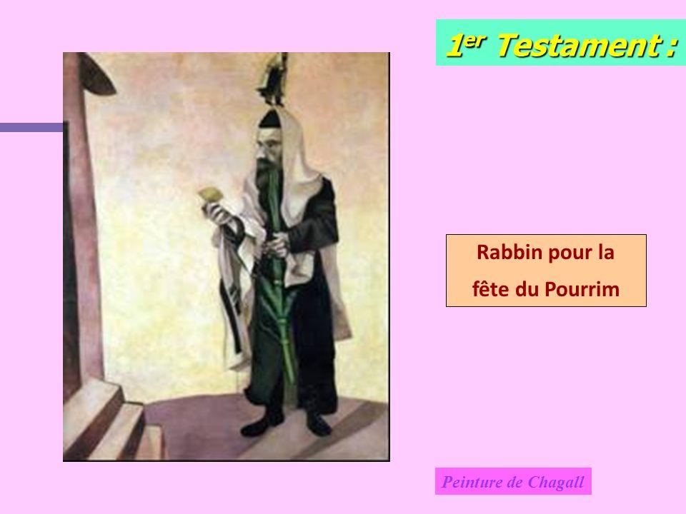 1er Testament : Rabbin pour la fête du Pourrim Peinture de Chagall