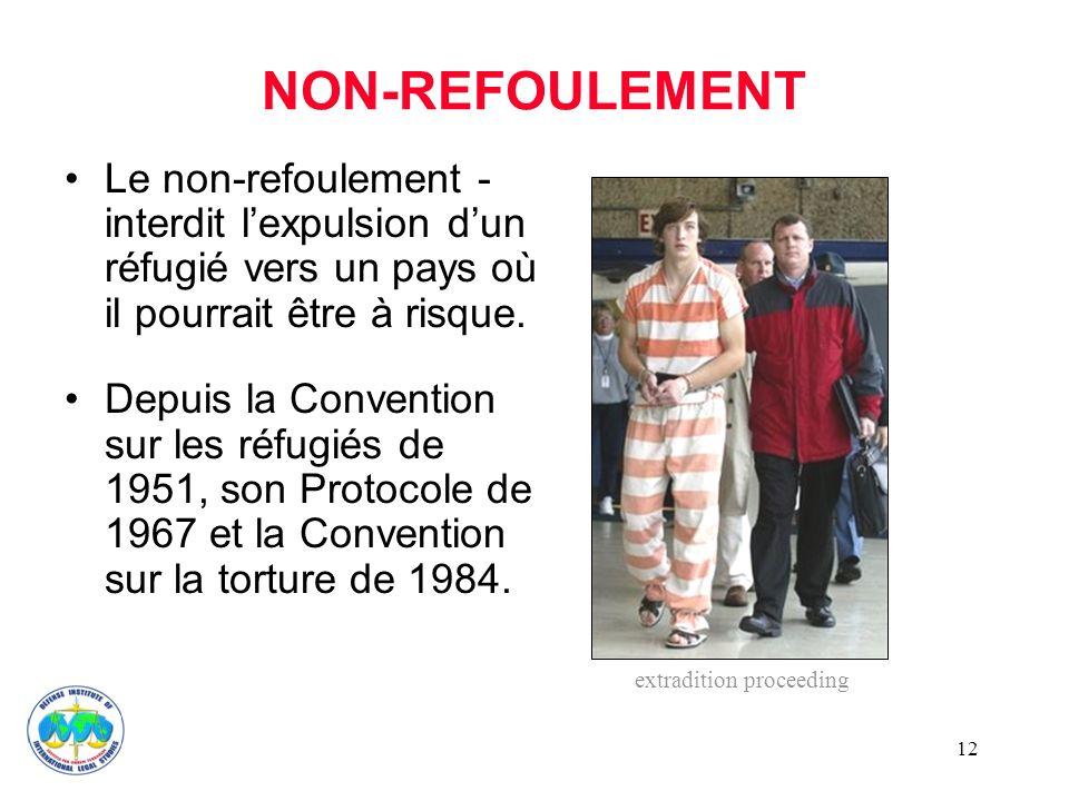 NON-REFOULEMENT Le non-refoulement - interdit l'expulsion d'un réfugié vers un pays où il pourrait être à risque.