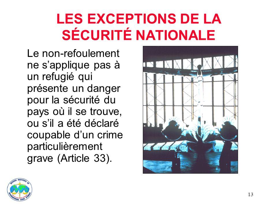 LES EXCEPTIONS DE LA SÉCURITÉ NATIONALE