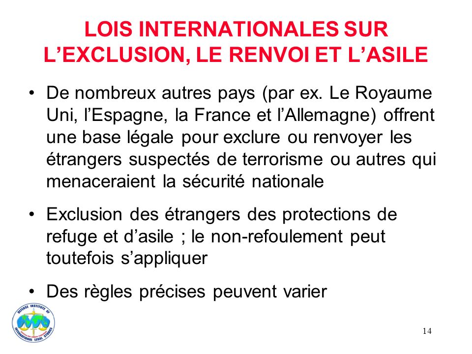 LOIS INTERNATIONALES SUR L'EXCLUSION, LE RENVOI ET L'ASILE