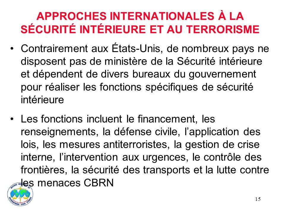 APPROCHES INTERNATIONALES À LA SÉCURITÉ INTÉRIEURE ET AU TERRORISME