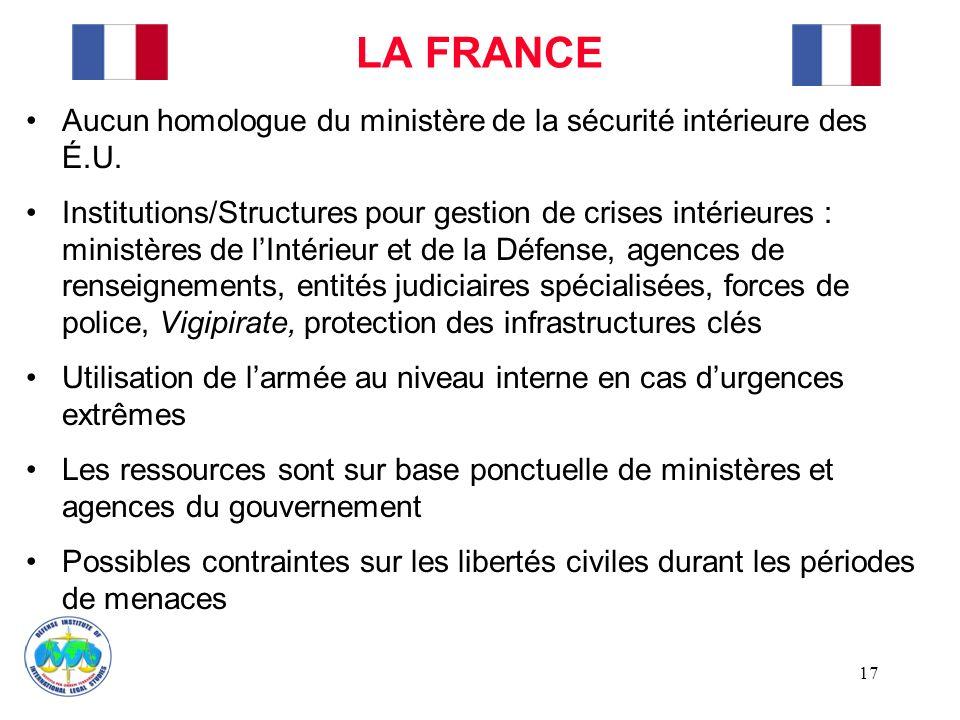 LA FRANCE Aucun homologue du ministère de la sécurité intérieure des É.U.