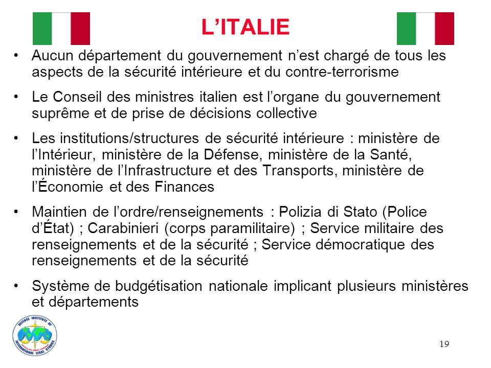 L'ITALIE Aucun département du gouvernement n'est chargé de tous les aspects de la sécurité intérieure et du contre-terrorisme.