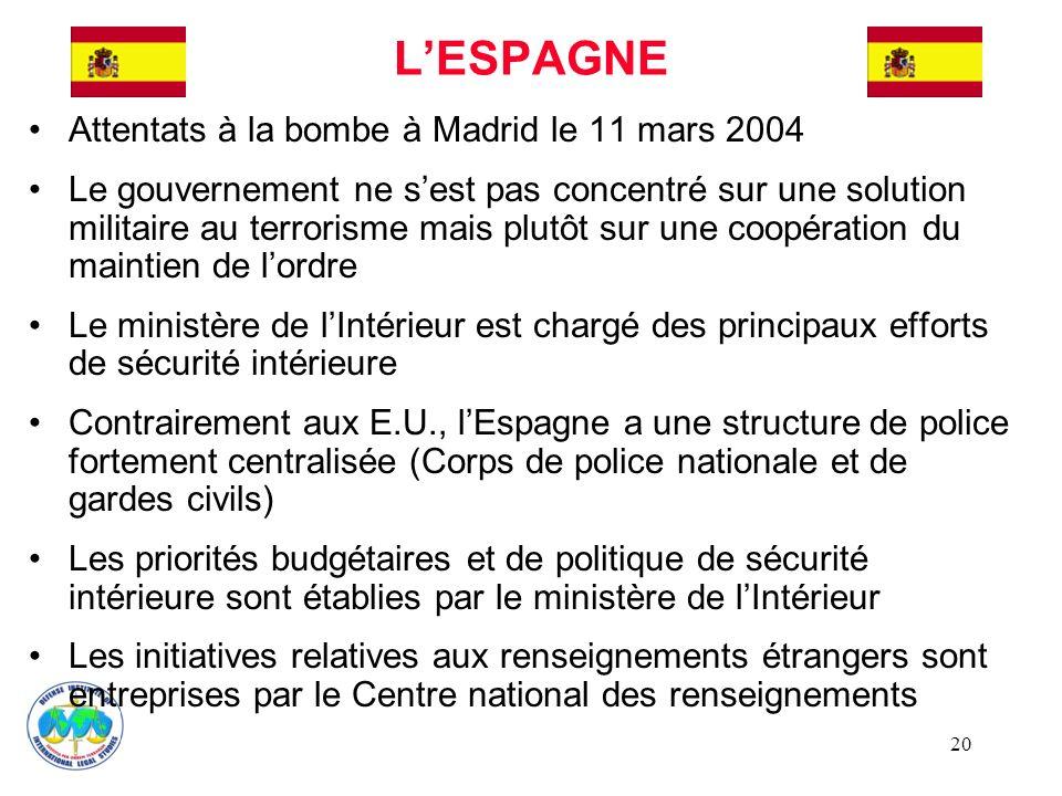 L'ESPAGNE Attentats à la bombe à Madrid le 11 mars 2004
