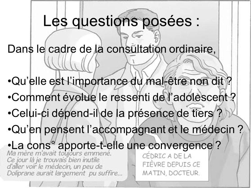 Les questions posées : Dans le cadre de la consultation ordinaire,