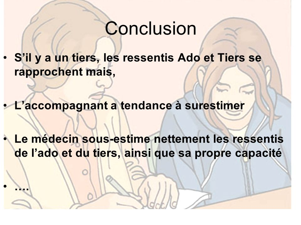 Conclusion S'il y a un tiers, les ressentis Ado et Tiers se rapprochent mais, L'accompagnant a tendance à surestimer.