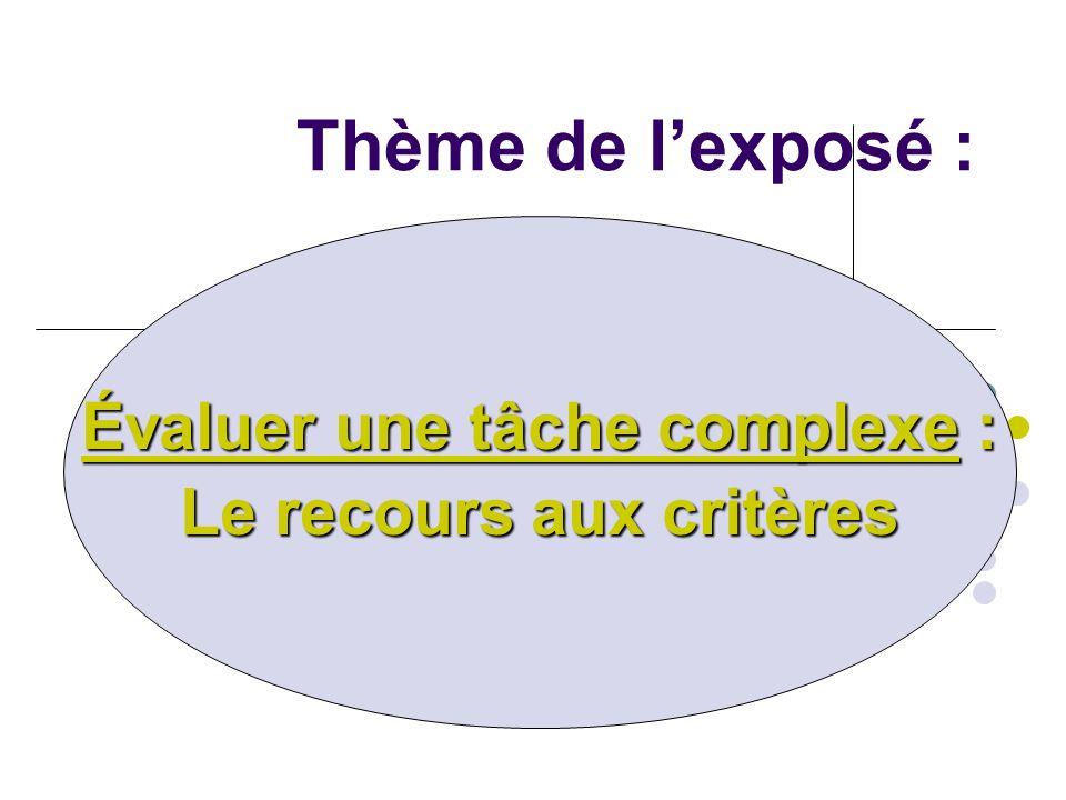 Évaluer une tâche complexe : Le recours aux critères