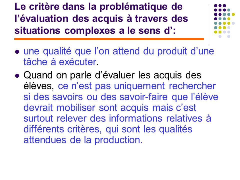 Le critère dans la problématique de l'évaluation des acquis à travers des situations complexes a le sens d':
