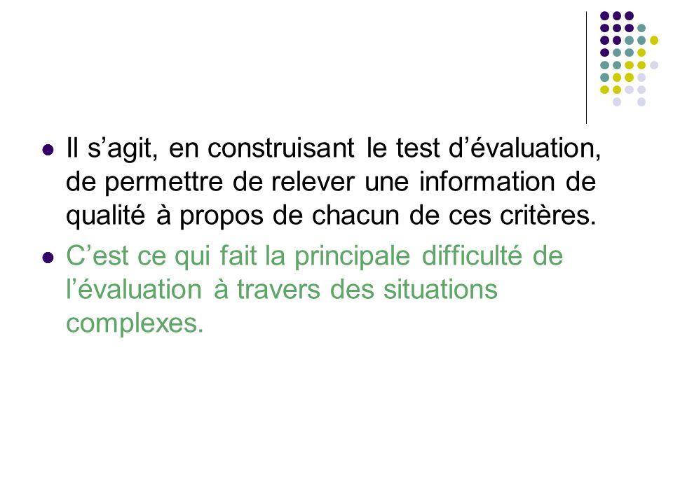 Il s'agit, en construisant le test d'évaluation, de permettre de relever une information de qualité à propos de chacun de ces critères.