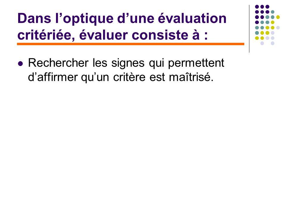 Dans l'optique d'une évaluation critériée, évaluer consiste à :