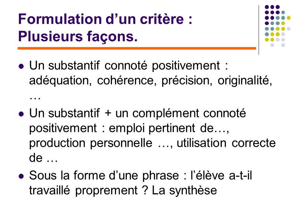 Formulation d'un critère : Plusieurs façons.