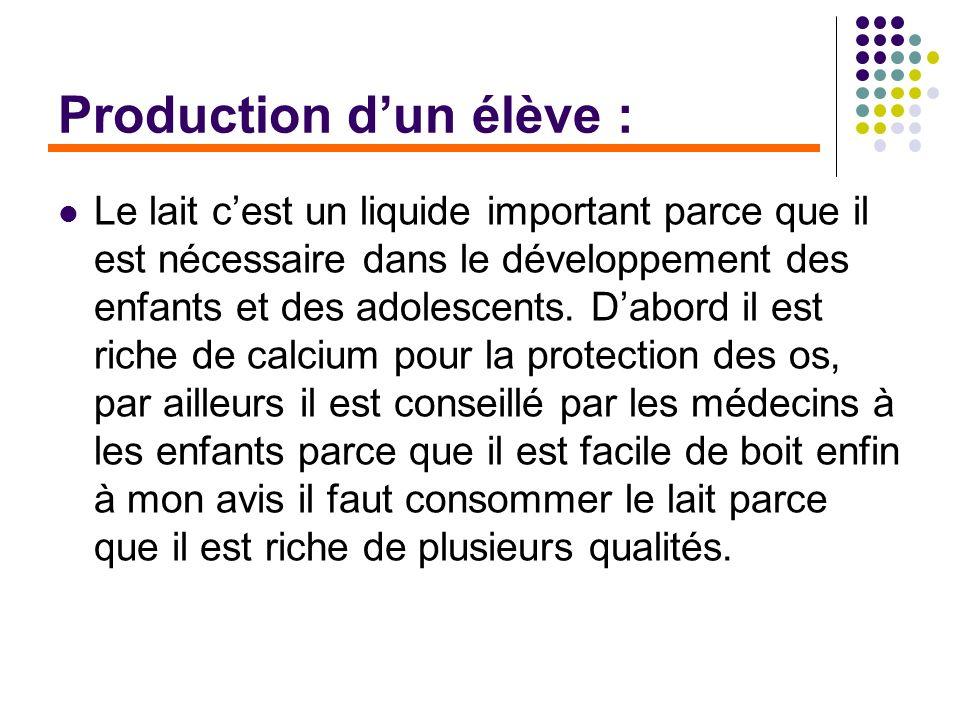 Production d'un élève :