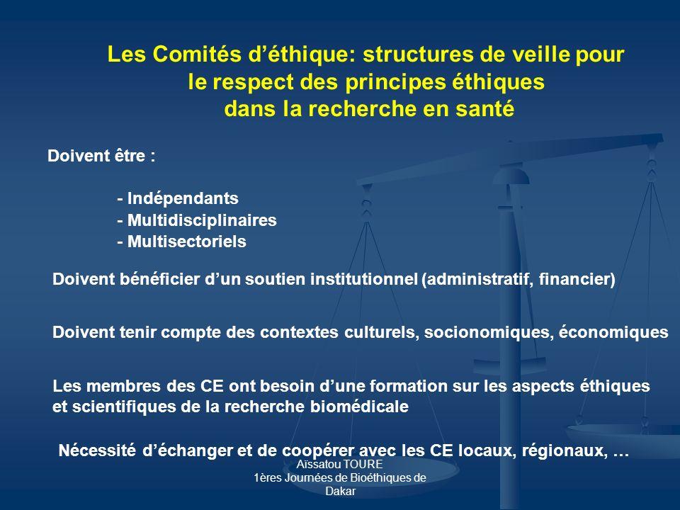 Les Comités d'éthique: structures de veille pour