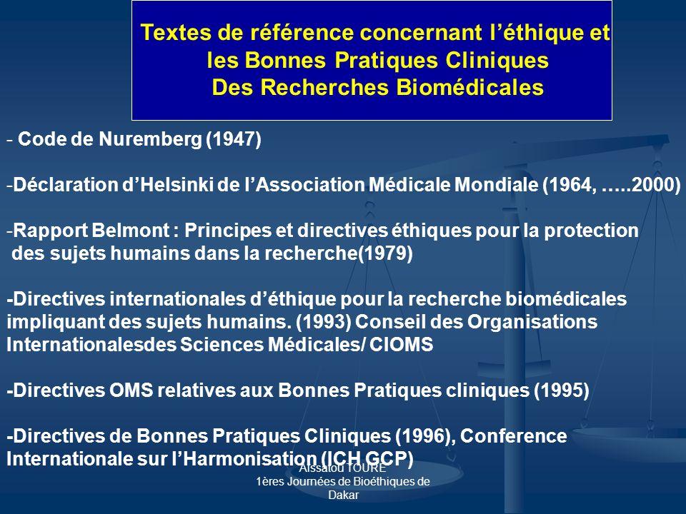 Textes de référence concernant l'éthique et