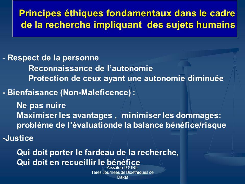 Principes éthiques fondamentaux dans le cadre