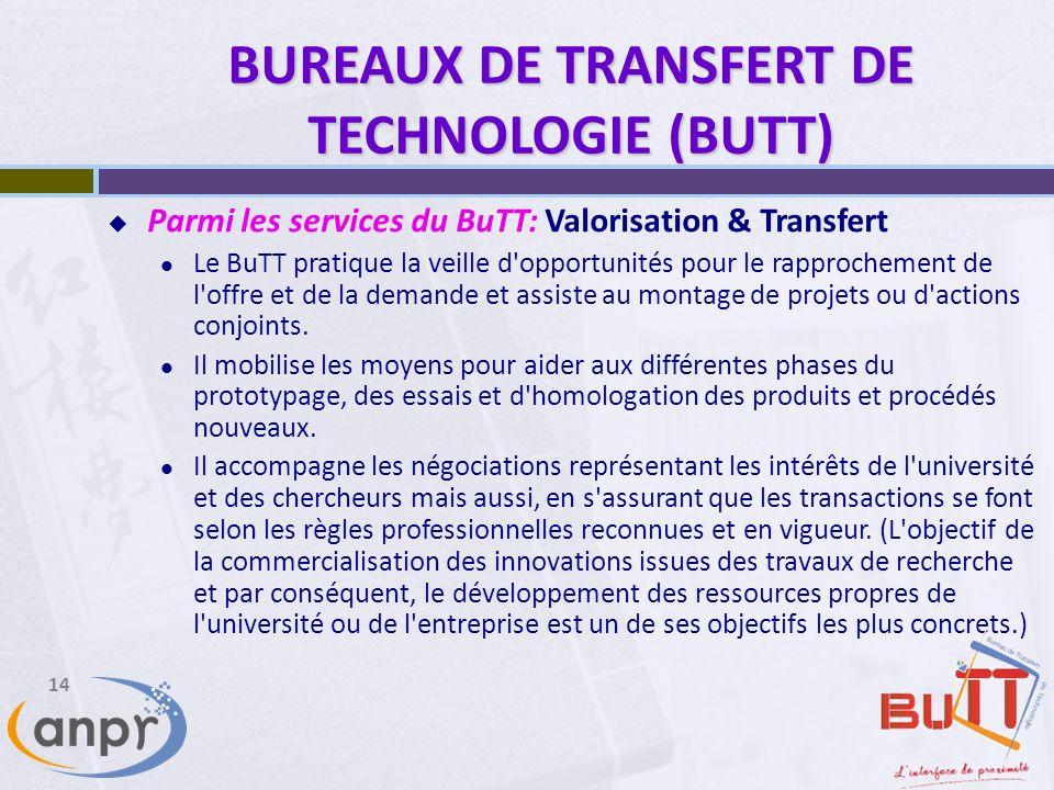 BUREAUX DE TRANSFERT DE TECHNOLOGIE (BUTT)