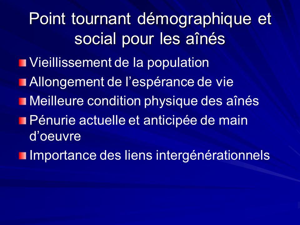 Point tournant démographique et social pour les aînés