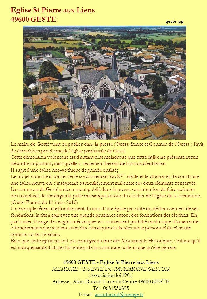 Eglise St Pierre aux Liens 49600 GESTE