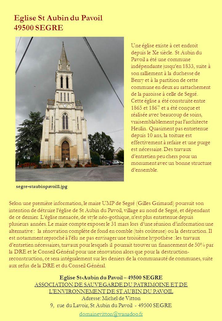 Eglise St-Aubin du Pavoil – 49500 SEGRE