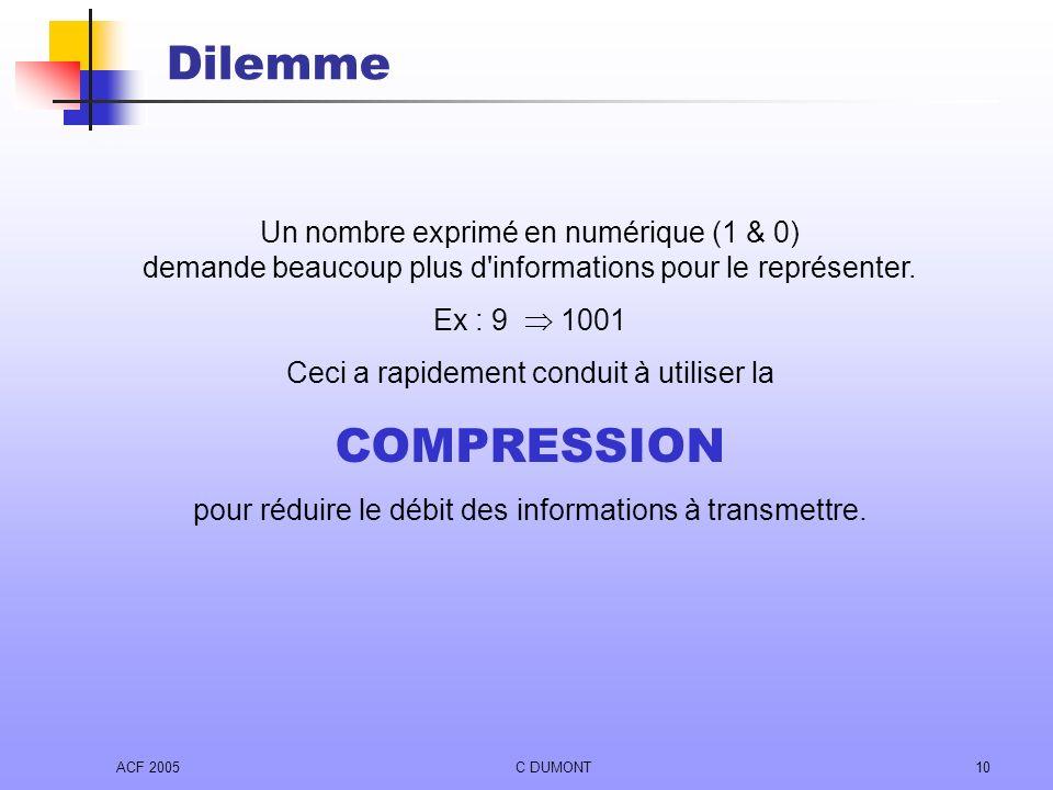 Dilemme Un nombre exprimé en numérique (1 & 0) demande beaucoup plus d informations pour le représenter.