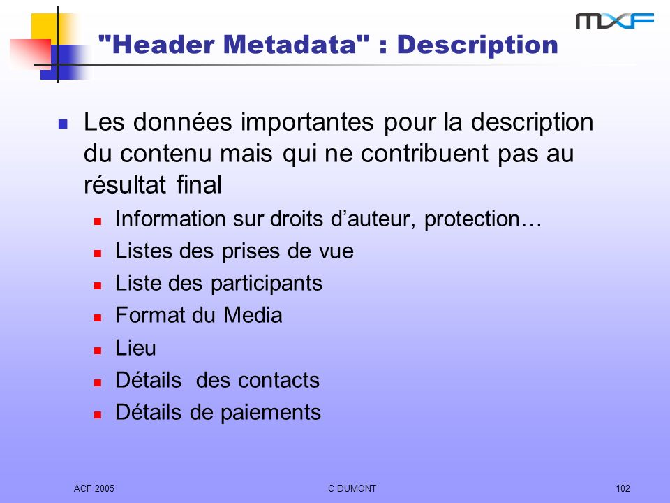 Header Metadata : Description