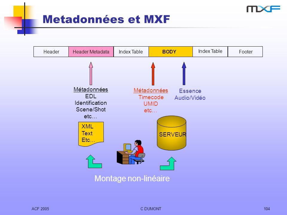 Metadonnées et MXF Montage non-linéaire