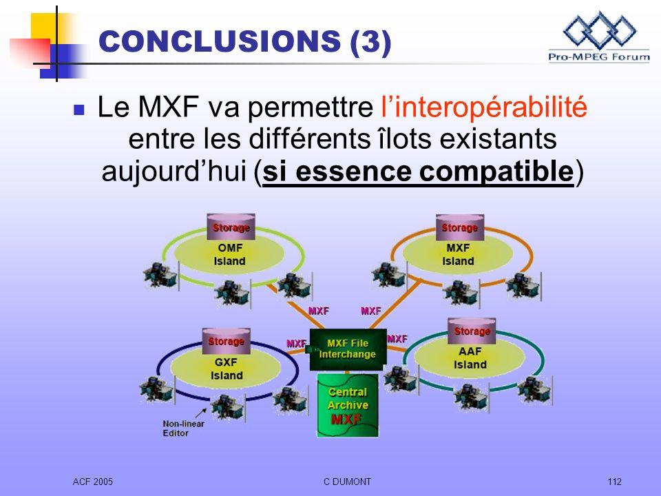 CONCLUSIONS (3) Le MXF va permettre l'interopérabilité entre les différents îlots existants aujourd'hui (si essence compatible)