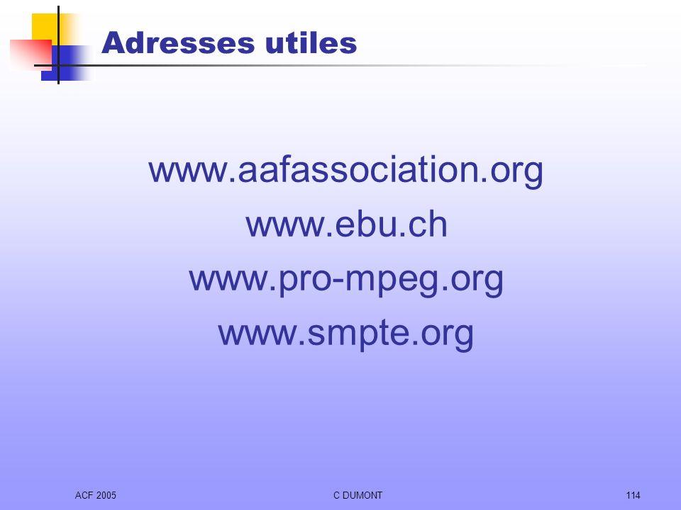 www.aafassociation.org www.ebu.ch www.pro-mpeg.org www.smpte.org