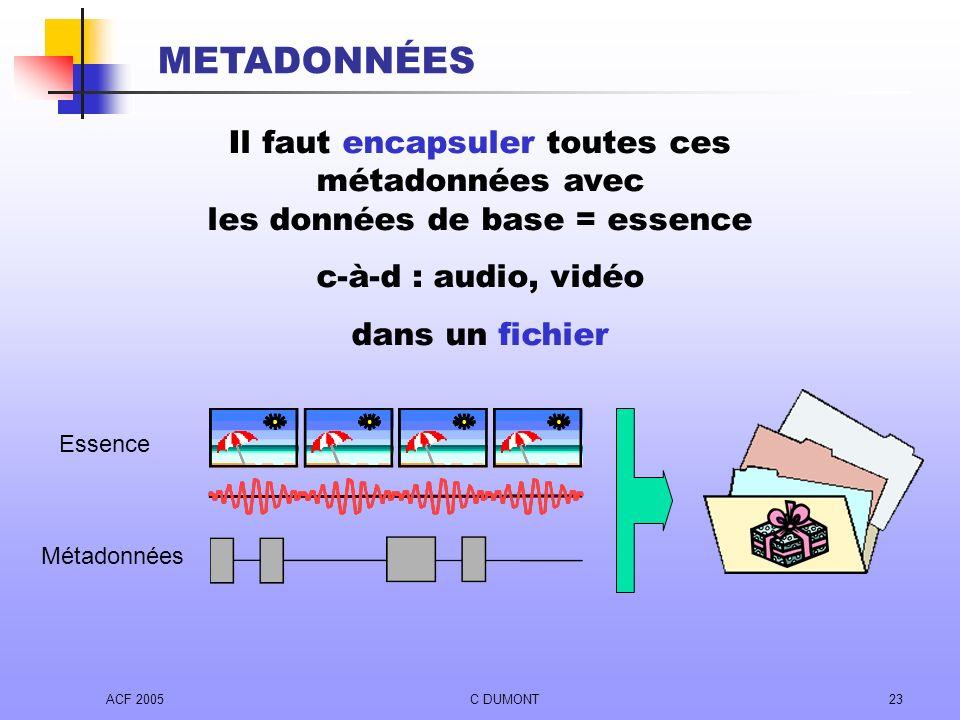 METADONNÉES Il faut encapsuler toutes ces métadonnées avec les données de base = essence. c-à-d : audio, vidéo.