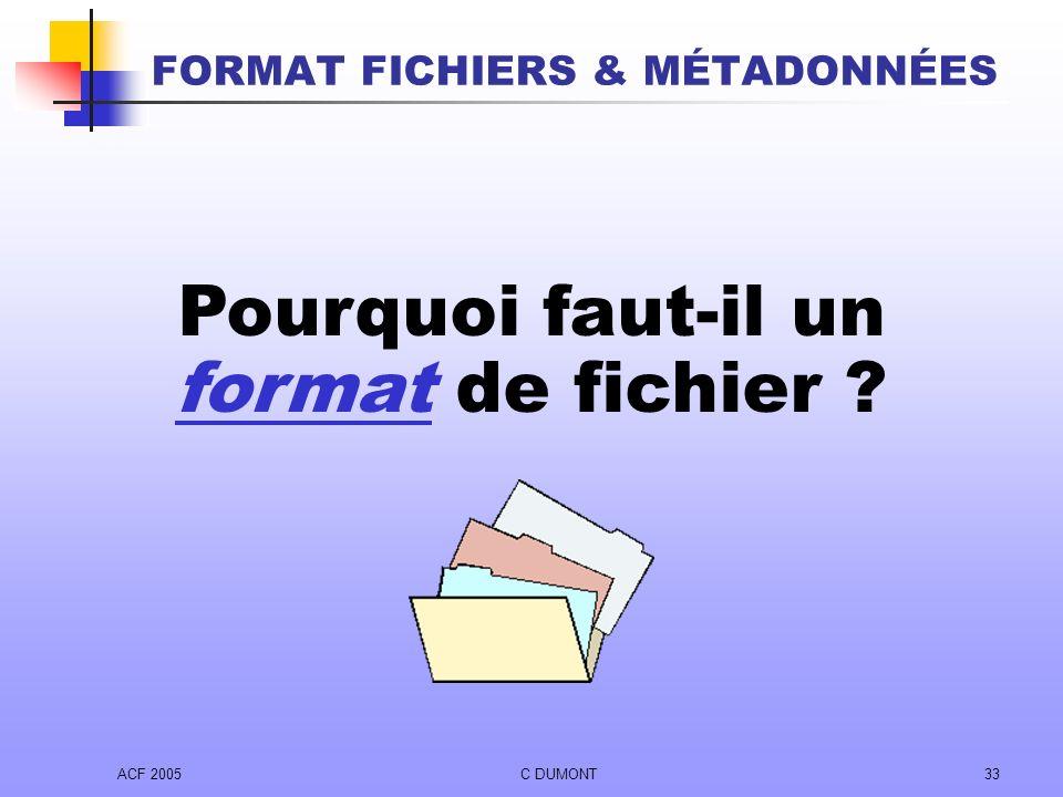 FORMAT FICHIERS & MÉTADONNÉES