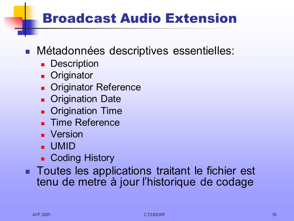 Broadcast Audio Extension