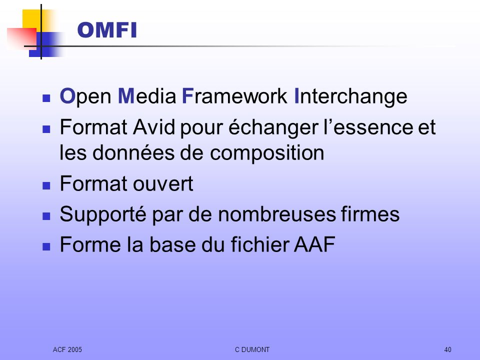 Open Media Framework Interchange