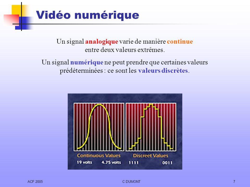 Vidéo numérique Un signal analogique varie de manière continue entre deux valeurs extrêmes.