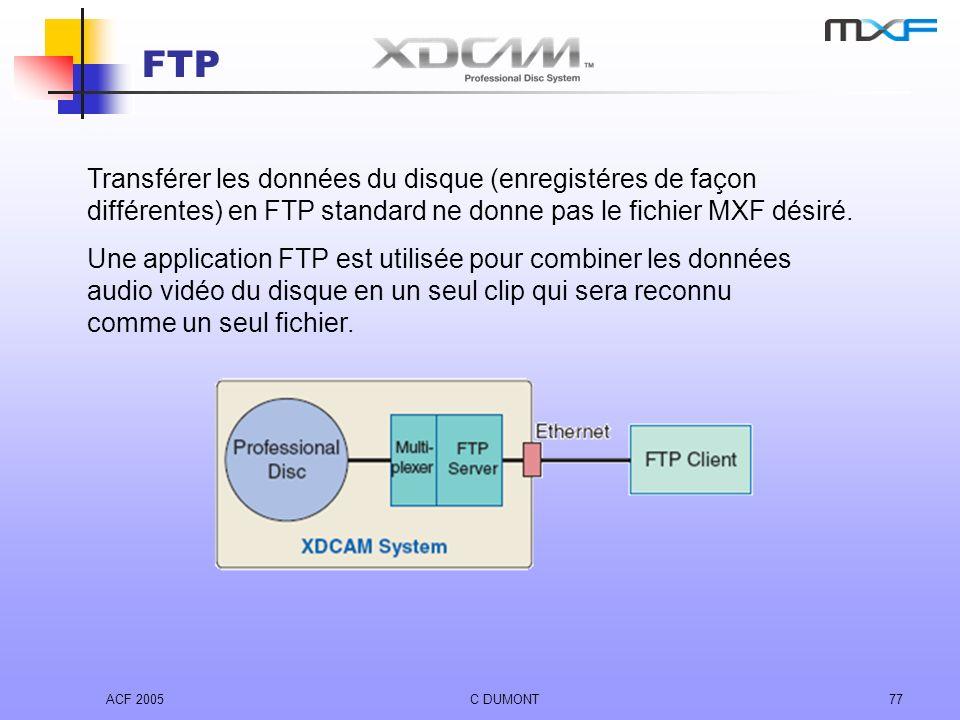 FTP Transférer les données du disque (enregistéres de façon différentes) en FTP standard ne donne pas le fichier MXF désiré.
