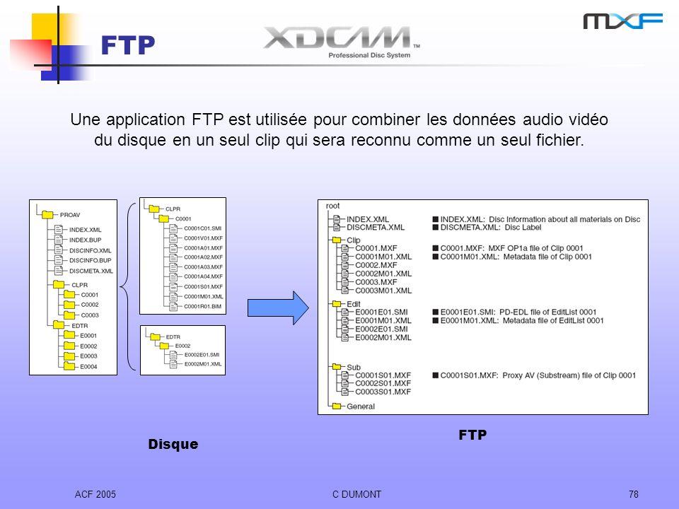 FTP Une application FTP est utilisée pour combiner les données audio vidéo du disque en un seul clip qui sera reconnu comme un seul fichier.