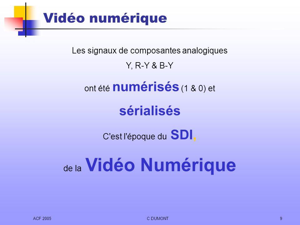 Vidéo numérique sérialisés Les signaux de composantes analogiques
